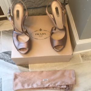 Prada Milano heels with box and bag